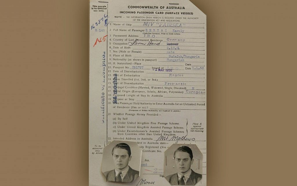 Karoly 'Charles' Zentai's landing card in Australia, January, 1950. (photo credit: JTA)