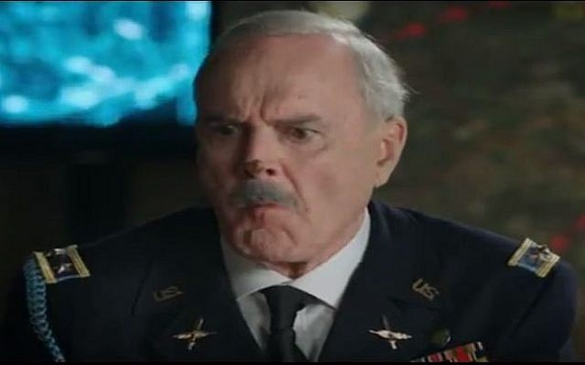 John Cleese as a Western general in a 'Sababa Egozim' commercial (photo credit: Youtube screen capture)