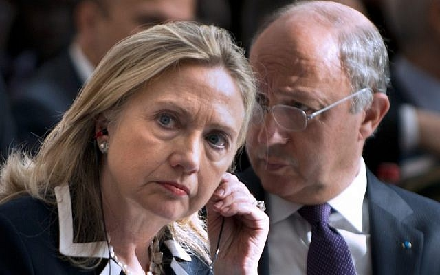 US Secretary of State Hillary Clinton and French Foreign Minister Laurent Fabius at the Friends of Syria conference in Paris in July. (photo credit: Brendan Smialowski/AP)
