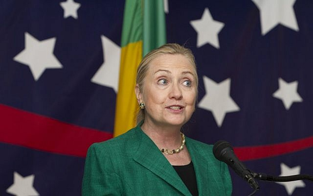 US Secretary of State Hillary Rodham Clinton speaking in Benin. (photo credit: AP/Jacquelyn Martin, Pool)