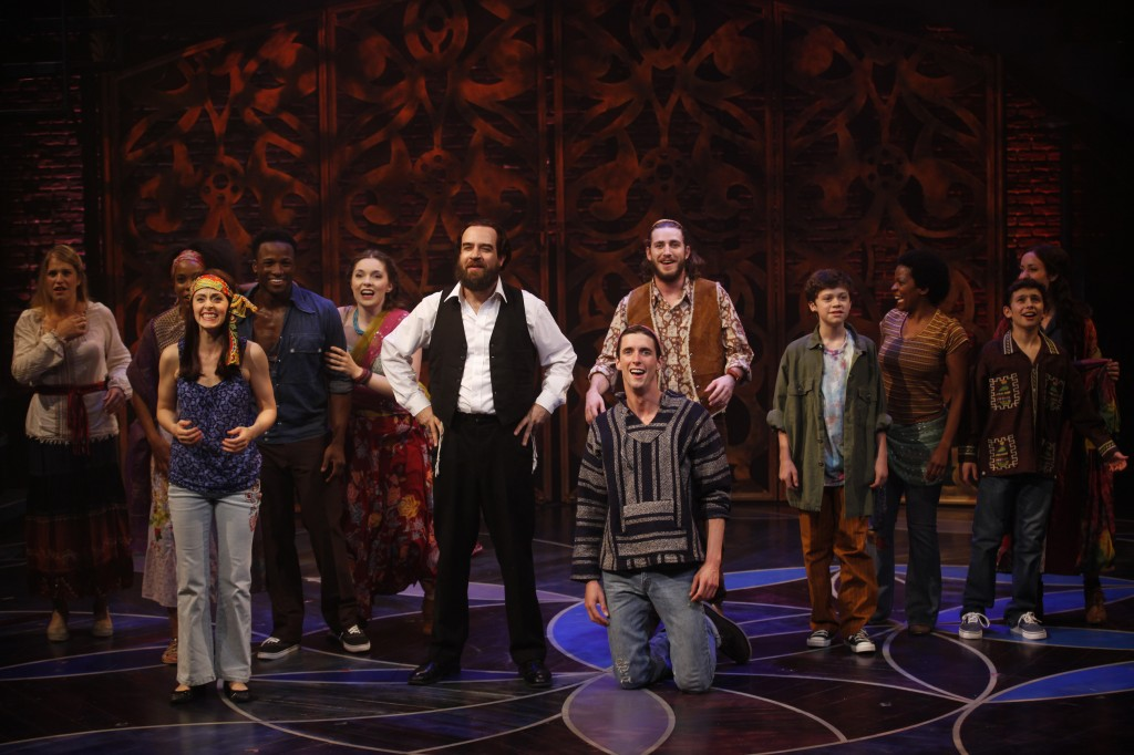 The company of the off-Broadway musical 'Soul Doctor,' about the life of Rabbi Shlomo Carlebach. (photo credit: Carol Rosegg/JTA)