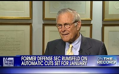Donald Rumsfeld (photo credit: screen capture FoxNews)