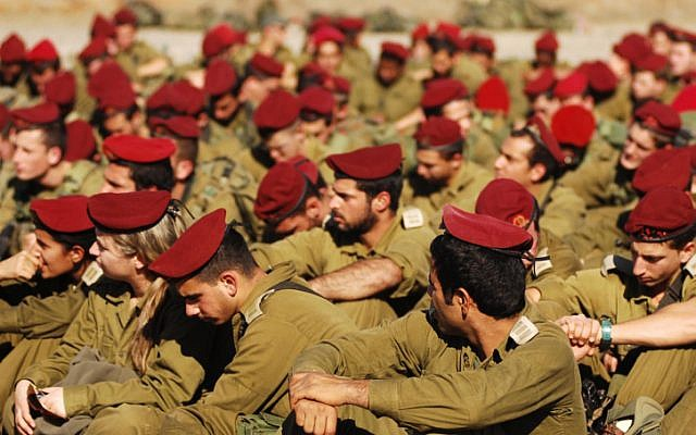 Paratroopers during training in 2007. (Illustrative photo credit: Assi Midan /IDF Spokesperson/Flash90)
