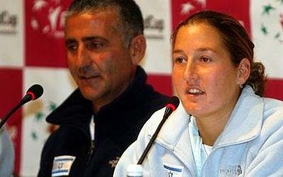 Tennis player Shahar Peer at a press conference. (photo credit: Roni Schutzer/Flash90)