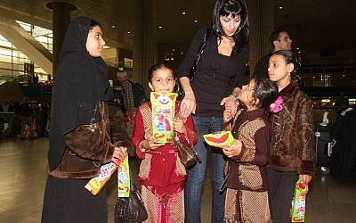 Yemenite Jewish immigrants arrive at Ben Gurion Airport in a special operation in 2009 (Photo credit: Roni Schutzer/Flash90)