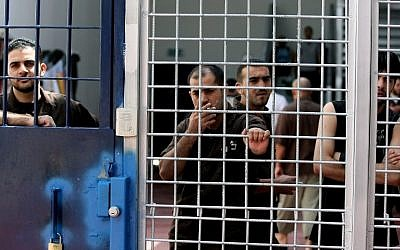 Illustrative photo of security prisoners in an Israeli prison (photo credit: Moshe Shai/Flash90)
