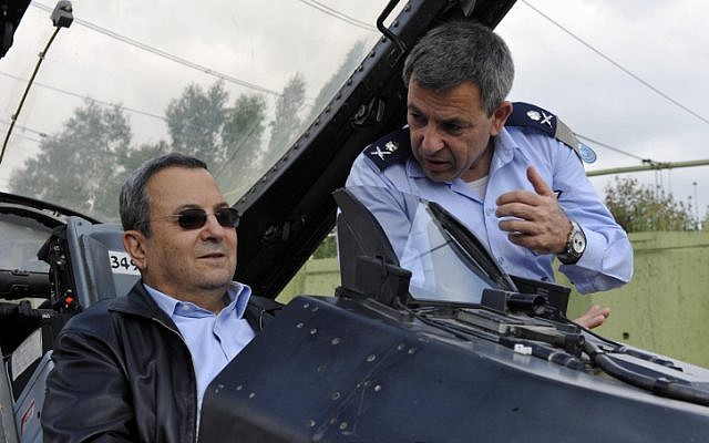 Defense Minister Ehud Barak in the cockpit of an F-16 along with former Air Force commander Ido Nehoshtan (Photo credit: Ariel Hermoni/ Ministry of Defense/ Flash 90)