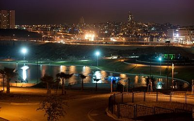 A panoramic night view of the city of Modi'in from the Anave Park in 2010 (photo credit: Jorge Novominsky/Flash90)