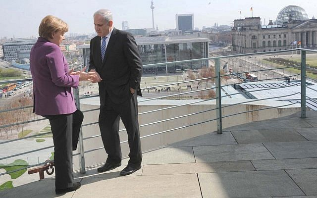 Bibi in Berlin with German Chancellor Angela Merkel in 2011.  Merkel reportedly told Netanyahu 'No' to a strike on Iran (photo credit: Avi Ohayon/GPO/Flash90)