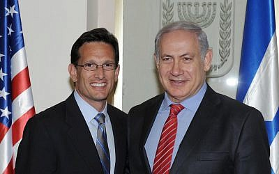 Eric Cantor, left, with Benjamin Netanyahu during the same trip. (photo credit: Moshe Milner/GPO/Flash90)