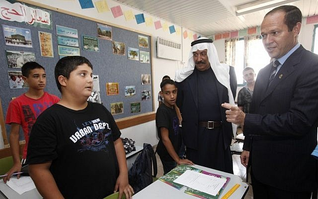 Mayor Nir Barkat visits the Al-Esawyyah preparatory school for boys in East Jerusalem, in September 2011 (photo credit: Miriam Alster/Flash90)
