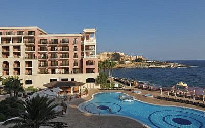 Illustrative image of a hotel pool,  on the shoreline of Valletta, the capital of Malta, in the Mediterranean Sea (photo credit: Nati Shohat/Flash90)