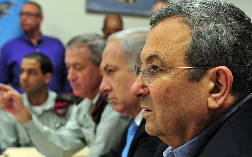 Then-defense minister Ehud Barak, Prime Minister Benjamin Netanyahu, and then-IDF chief of staff Benny Gantz, pictured in 2011. (Ariel Hermoni/Ministry of Defense/Flash90)