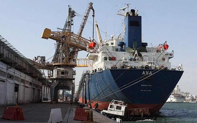 Shipping containers at the Haifa Port (Photo credit: Yaakov Nahumi/Flash90)