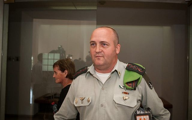Col. Erez Weiner in the Supreme Court in Jerusalem, June 2012. (photo credit: Uri Lenz/Flash90)