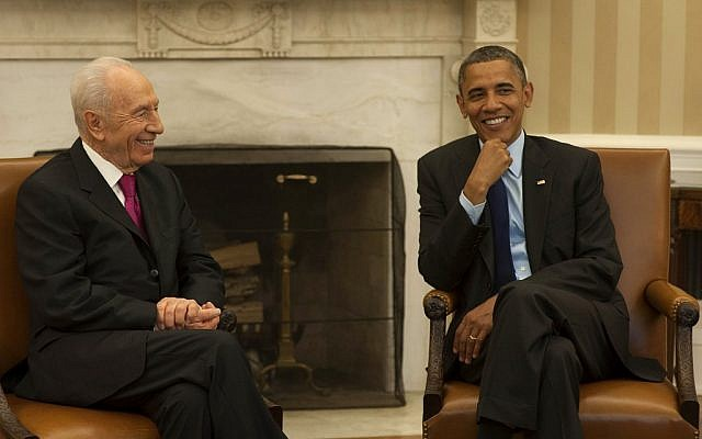Barack Obama and Shimon Peres, during Peres' visit to the White House in June 2012. (photo credit: Amos Ben Gershom/GPO/FLASH90)