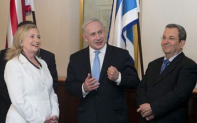 Secretary of State Hillary Clinton, Prime Minister Benjamin Netanyahu and Defense Minister Ehud Barak, in Netanyahu's office in Jerusalem, in July (photo credit: Ohad Zwigenberg/POOL/FLASH90)