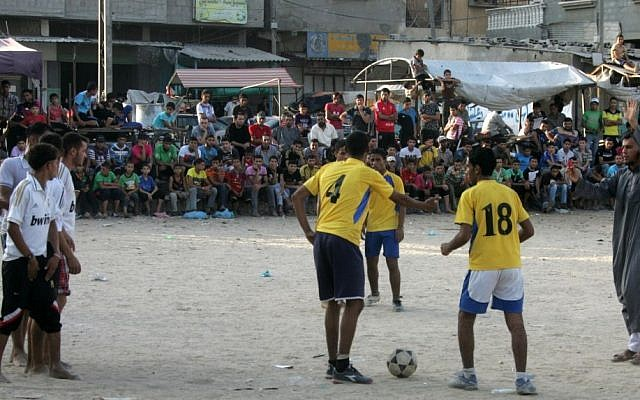 Illustrative photo of a Palestinian youth soccer match in the Rafah refugee camp in southern Gaza Strip, July 2012. (photo credit: Abed Rahim Khatib/Flash 90)