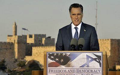 Republican US presidential candidate Mitt Romney holds a press conference in Jerusalem, July 29, 2012. (photo credit: Yoav Ari Dudkevitch/Flash90)