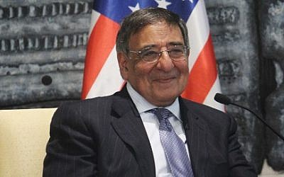 US Secretary of Defence Leon Panetta meets with Israeli president Shimon Peres (not seen) in Peres' office in Jerusalem. August 01, 2012. (photo credit: Miriam Alster/Flash90)