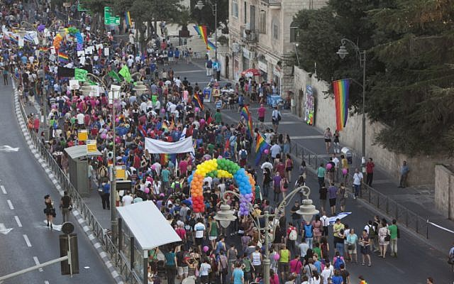 Israelis take part in the annual gay pride parade in Jerusalem on Thursday, August 02 (photo credit: Yonatan Sindel/Flash90)