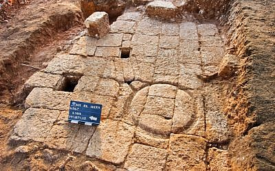A 1,300 year old olive press found near Hod Hasharon. (photo credit: Hagit Turga courtesy of the Israel Antiquities Authority/Flash90)