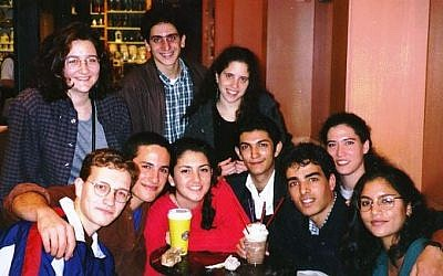 Hussein (third from right) with friends at Brandeis in 1997 (photo credit: Courtesy)