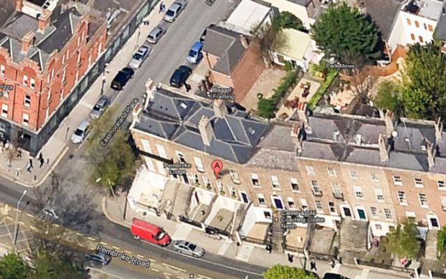 Israeli Embassy in Dublin, streetview (photo credit: screen capture, Google Maps Street View)