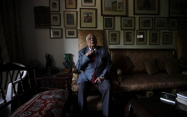 Lt. Gen. Jack Jacob, shown sitting in his New Delhi home, likely saved hundreds of thousands of lives while serving as chief of staff of the Indian Eastern command during the 1971 Bangladesh war. (Ashish Sharma/Open/JTA)