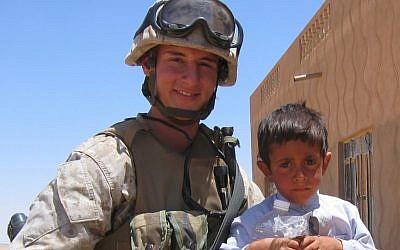 State Treasurer Josh Mandel, a Republican candidate for the U.S. Senate in Ohio, is shown during his service as a Marine in Iraq. (photo credit: Citizens for Josh Mandel/JTA)