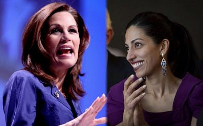 Some Jewish leaders accused Rep. Michele Bachman, left, for launching a 'witch hunt' following her allegations that Huma Abedin had ties to the Muslim Brotherhood. (photo credit: Gage Skidmore/Creative Commons/JTA)