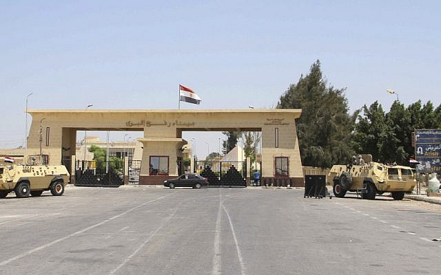 In this Monday Aug. 6, 2012 file photograph, the Rafah border terminal between Egypt and Gaza, and the only gateway for Gaza's people, is closed and guarded by Egyptian border guards in Rafah, Egypt. (photo credit:AP/Ahmed Gomaa)