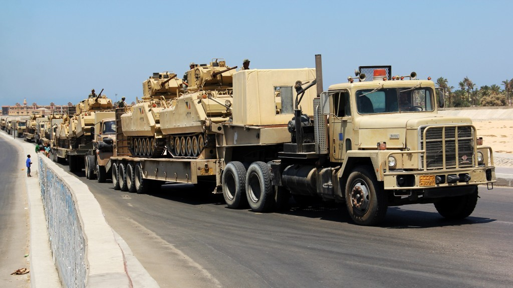 illustrative photo of egyptian army trucks carrying military tanks in the northern sinai peninsula august
