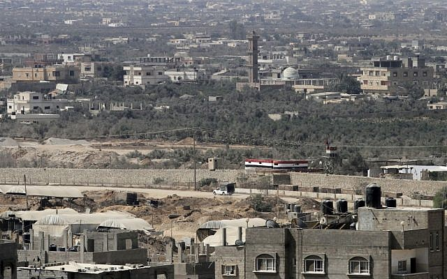 A view of the smuggling tunnels area along Egypt Gaza border is seen from Rafah, southern Gaza Strip, Monday, Aug. 6, 2012 (photo credit: AP Photo/Hatem Moussa)