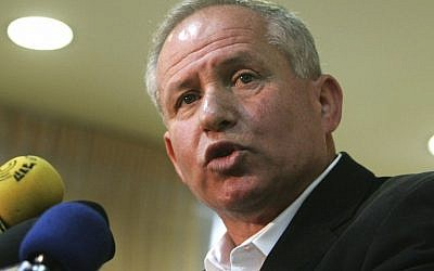 Avi Dichter speaks at a press conference in Tel Aviv, Israel (photo credit: AP/File)