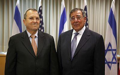 Israeli Defense minister Ehud Barak, left, and US Defense Secretary Leon Panetta on Wednesday Aug. 1 (photo credit: AP/Gali Tibbon, Pool)