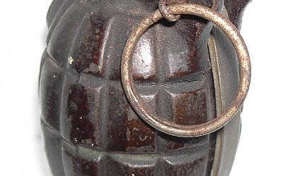 An illustrative photo of a hand grenade (photo credit: CC-BY-SA J-L Dubois, Wikimedia Commons)