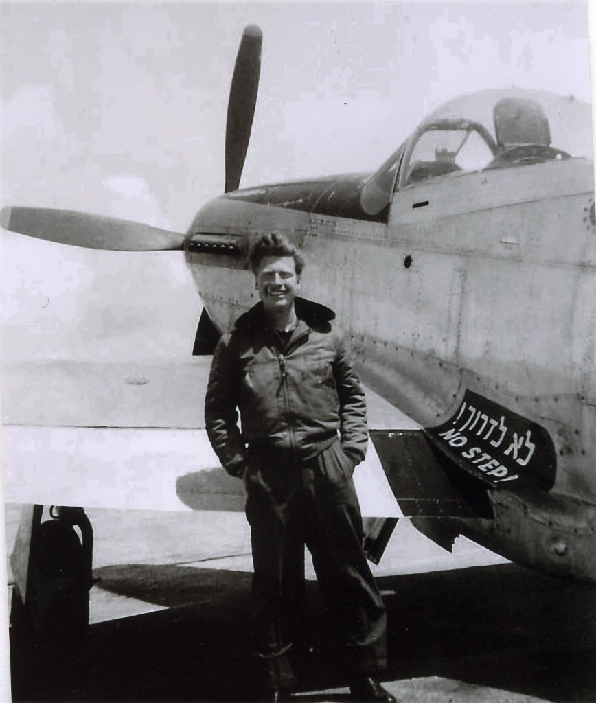 Mitchell Flint standing in front of his P51 Mustang fighter plane in Israel in 1948. (Photo credit: provided by Tom Tugend/JTA)
