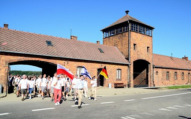 Fifty descendants of Germans involved in the Holocaust visited the sites of German Nazi death camps in Poland as part of the March of Life, a multi-day trek commemorating the genocide, 2012. (photo credit: Heinz Reuss/TOS Ministries)