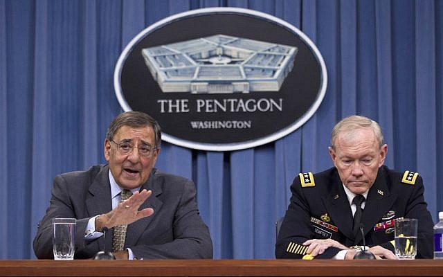 US Defense Secretary Leon Panetta, left, and Joint Chiefs Chairman Gen. Martin Dempsey give a news conference at the Pentagon (photo credit: Evan Vucci/AP)