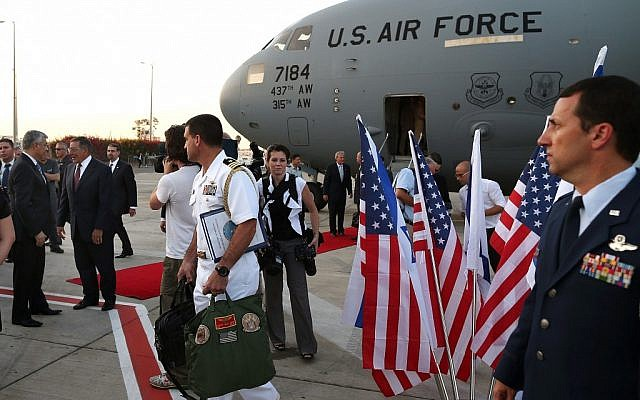 US Secretary of Defense Leon Panetta is welcomed upon his arrival in Tel Aviv on Tuesday, July 31, 2012 (photo credit: AP/Mark Wilson, Pool)