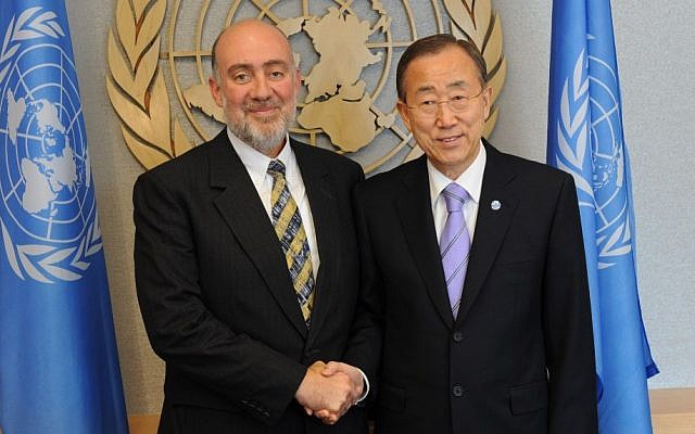 Israel's Ambassador to the UN Ron Prosor with Secretary General Ban ki-Moon (photo credit: Courtesy)