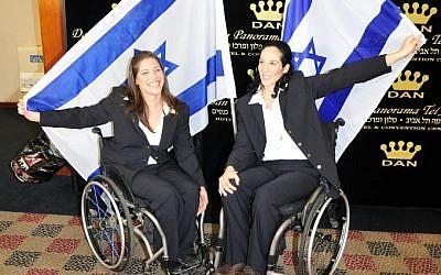 Inbal Pezaro (left) and Moran Samuel (right), two of Israel's Paralympians (photo credit: Raz Livini/ISAP)