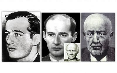 Left to right, Raoul Wallenberg at a young age; at age 32 with an aged-processed photo in the smaller box; and an FBI sketch of how Wallenberg may have looked in the 1980s. (Photo credit: courtesy of the National Center for Missing and Exploited Children – Horace Heafne and The International Raoul Wallenberg Foundation/JTA)
