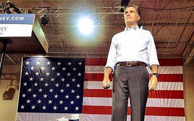 Mitt Romney speaking at the NASCAR Technical Institute in Mooresville, North Carolina in August. (photo credit: Mitt Romney official website/JTA)