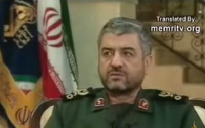 Iran's Revolutionary Guards Commander Mohammad Al Jafari (photo credit: screen capture, YouTube)