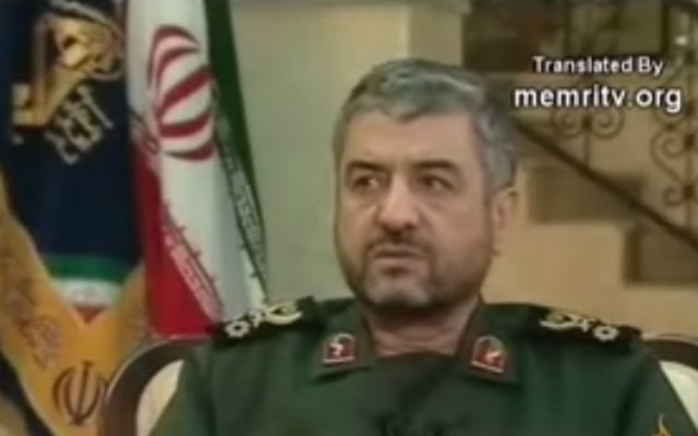 Iran's Revolutionary Guards Commander Mohammad Al Jafari (photo credit: screen capture, YouTube)