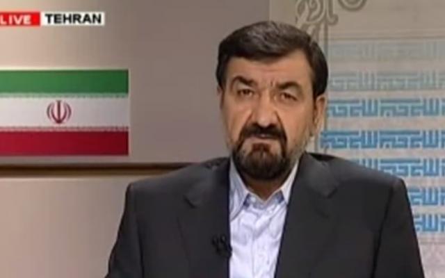 Mohsen Rezai, secretary of the Expediency Council that advises supreme leader Ayatollah Ali Khamenei (photo credit: screen capture, YouTube)