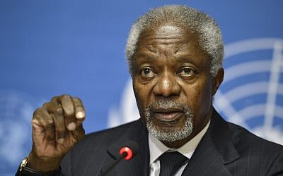 Kofi Annan speaks during a press briefing at the European headquarters of the United Nations in Geneva, Switzerland, on Thursday (photo credit: AP/Keystone, Martial Trezzini)