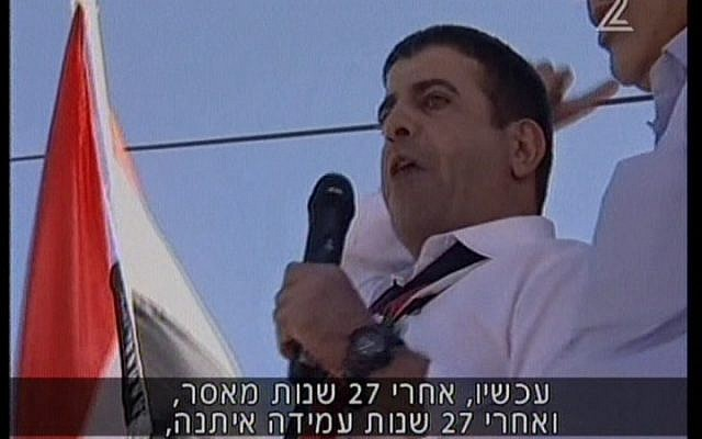 Sidqi Suleiman speaking after his release from Israeli prison (photo credit: Channel 2 screen capture)